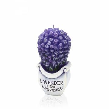 Dekorativní vonná svíčka - 3D levandule v květináči, plastický dekor, 280g