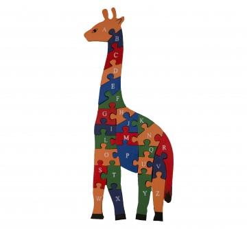 Készségfejlesztő fa puzzle - nagy zsiráf