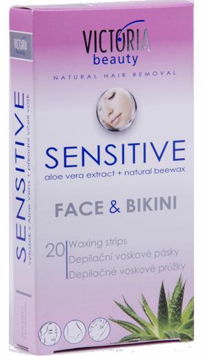 Victoria Beauty Sensitive - depilační voskové pásky na obličej a bikiny 20 ks + 2x ubrousky
