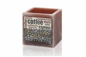Voskový svícen včetně svíčky - hranol, káva hnědá, 600g