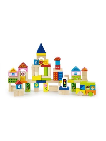 Dřevěné kostky pro děti Viga City 75 dílů