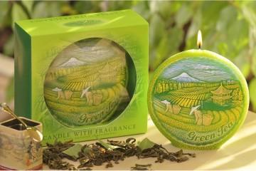 Dekorativní vonná svíčka - zelený čaj, plastický dekor, 450g