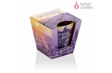 Vonná svíčka ve skle –  vůně svěžího levandulového pole 115g