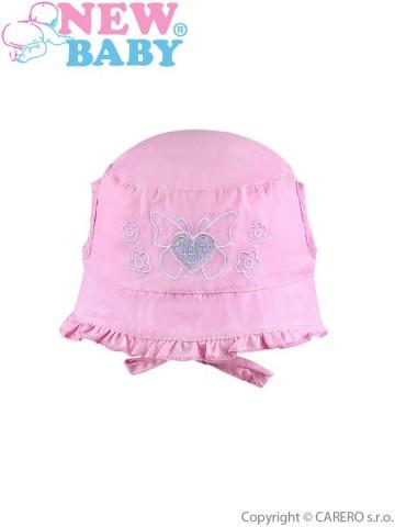 Letní dětský klobouček New Baby Sweet Butterfly růžový