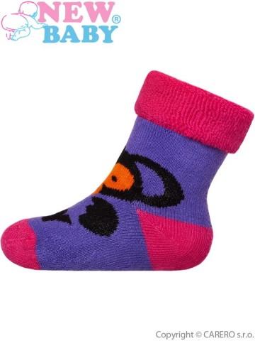 Kojenecké froté ponožky New Baby fialové s opicí