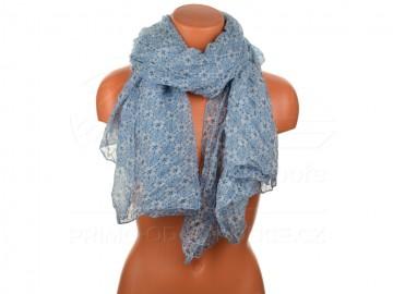 Letní šátek s motivem květů, 170x75cm - modrý