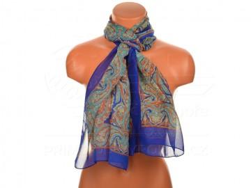 Letní šátek s motivem orientálních květin, 165x50cm - modrý