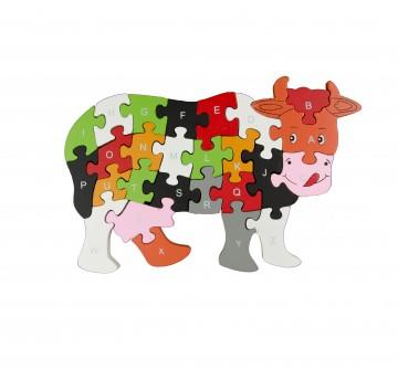 Készségfejlesztő fa puzzle - tehén