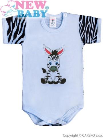 Dojčenské body s krátkym rukávom New Baby Zebra modré