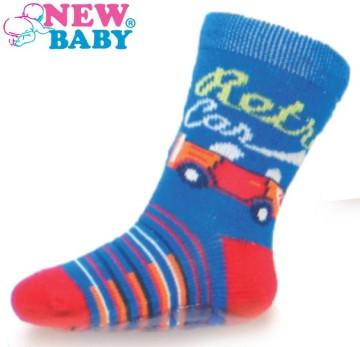 Detské ponožky New Baby s ABS modré retro car
