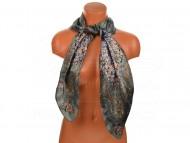 Velký šátek s motivem kvítečků, 90x90cm - šedý