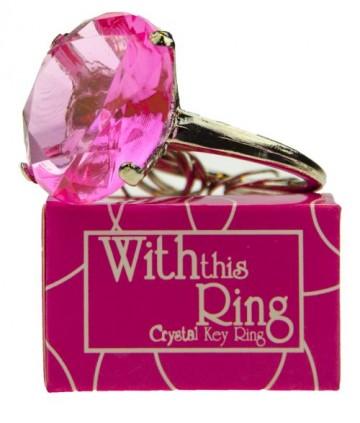 Nagy gyűrű kulcstartó - rózsaszín köves