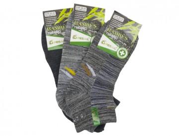 Pánské bambusové kotníkové termo ponožky - žíhané - 3 páry, velikost 43-47