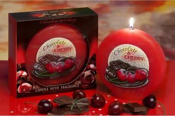 Dekorativní vonná svíčka - čokoláda a třešeň, plastický dekor, 480g