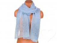 Dámský jednobarevný bavlněný šátek s kamínky - modrý
