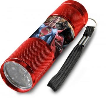 Dětská hliníková LED baterka Batman vs. Superman červená
