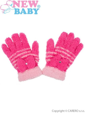 Dětské zimní froté rukavičky New Baby tmavě růžové