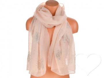 Dámský jednobarevný bavlněný šátek s kamínky - lososový