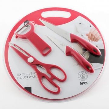 Planșetă pentru tăiat cu accesorii (5 bucăți) - roșu