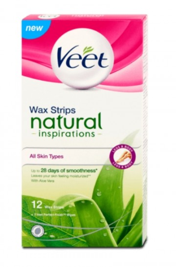 Veet® voskové pásky Natural Inspirations™ Aloe Vera, 12ks