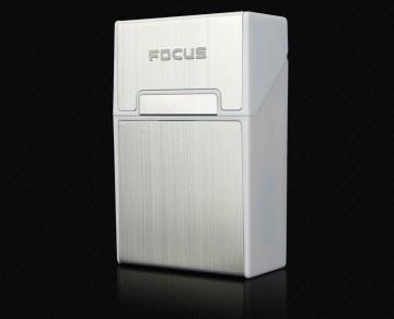 Cigaretové pouzdro Focus s otevřením na magnet - stříbrný hliník