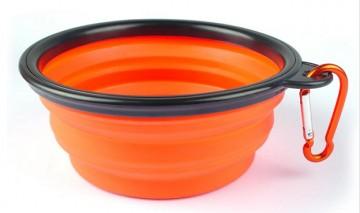 Silikonová skládací miska pro psy - oranžová