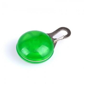 Pandativ cu lumină/licărire pentru prins la zgardă - verde