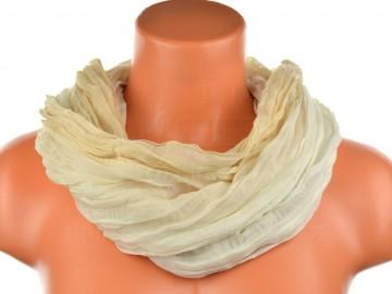 Dámský tunelový šátek v odstínech jedné barvy - krémový