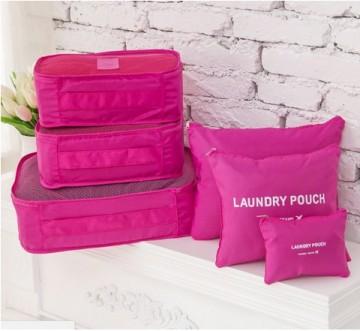 Praktické cestovní tašky a organizéry na cesty, 6 kusů v balení - růžová