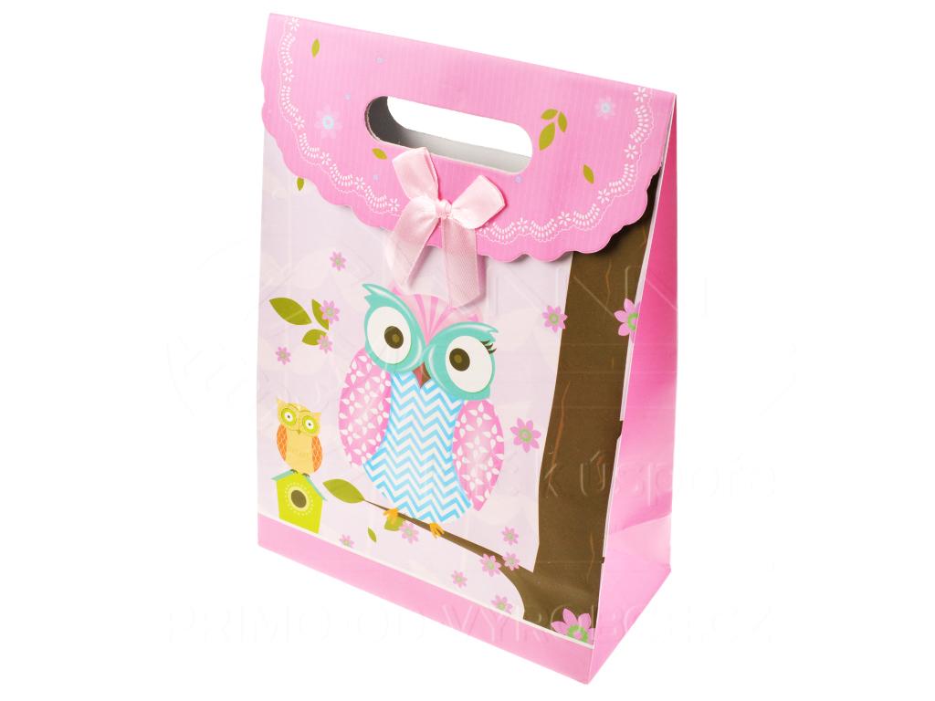 Dárková taška - Sova růžová 27cm