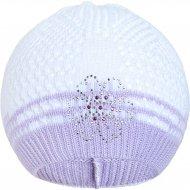 Pletená čepička New Baby kytička fialová