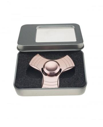 Fidget spinner - din metal, în cutie cadou - roz [9076]