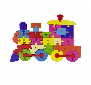 Készségfejlesztő fa puzzle - vonat