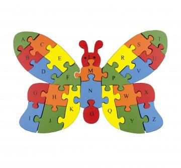 Készségfejlesztő fa puzzle - pillangó