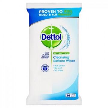 Dettol - antibakteriální ubrousky na povrchy, 36 ks