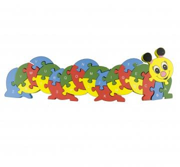 Készségfejlesztő fa puzzle - hernyó