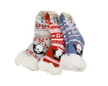 Protiskluzové extra termo ponožky - tučňák, 1 pár, velikost 31-34 - kombinace barev