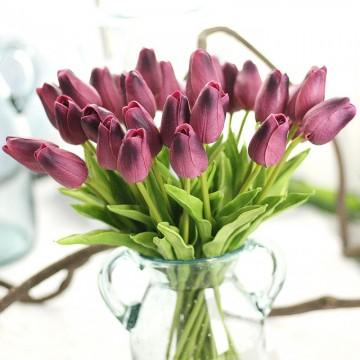 Kytice umělých tulipánů - svazek 10ks, fialová