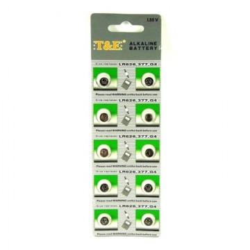 T&E AG4/AG 0-13/LR626/SR626, 2 ks alkalické knoflíkové baterie 1,55V