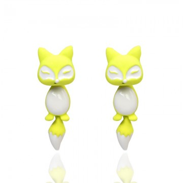 Náušnice - 3D liška, žluto-bílá