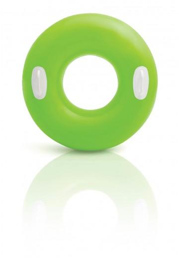 Nafukovací plovací kruh s úchyty - zelený, 76cm