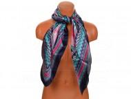 Velký šátek s motivem exotických květů, 90x90 cm - tmavě modrý