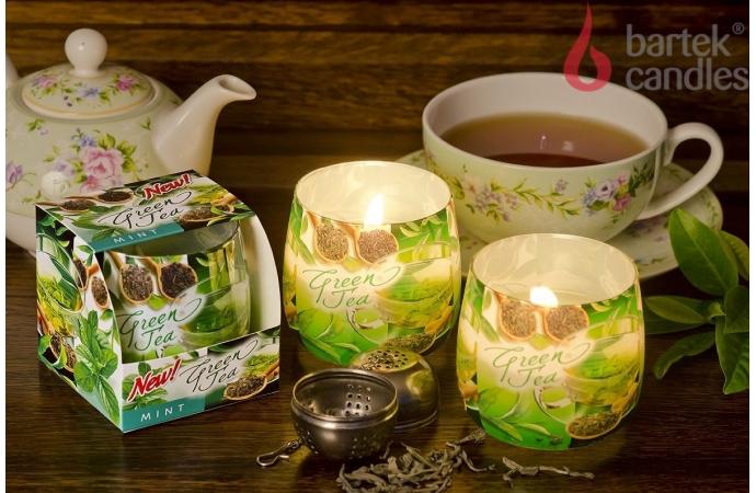 Vonná svíčka ve skle - zelený čaj s mátou, 100g, doba hoření cca 30 hodin