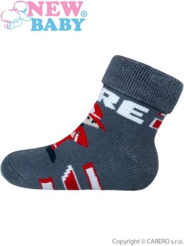 Dětské froté ponožky New Baby šedé fireman