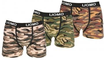 Boxeri din bumbac - desen camuflaj - 3 perechi, mărimea XXXL