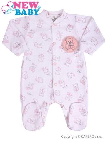 Dojčenský overal New Baby Roztomilý Medvedík ružový