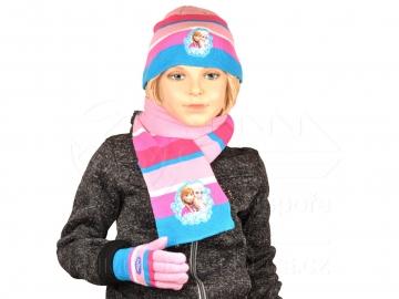 Sada šála čepice a rukavice - Růžovomodrá