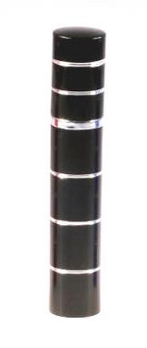 Dámský pepřový sprej ve tvaru parfému s pruhy - černý