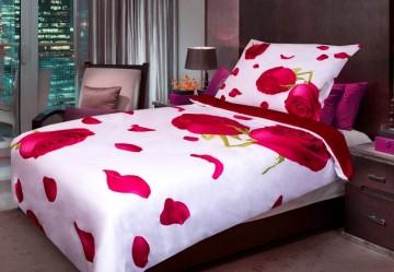 Ložní povlečení - 3D červená růže, 140x200/70x90 cm