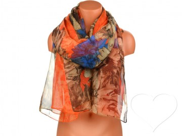 Eșarfă pentru femei cu flori - portocaliu